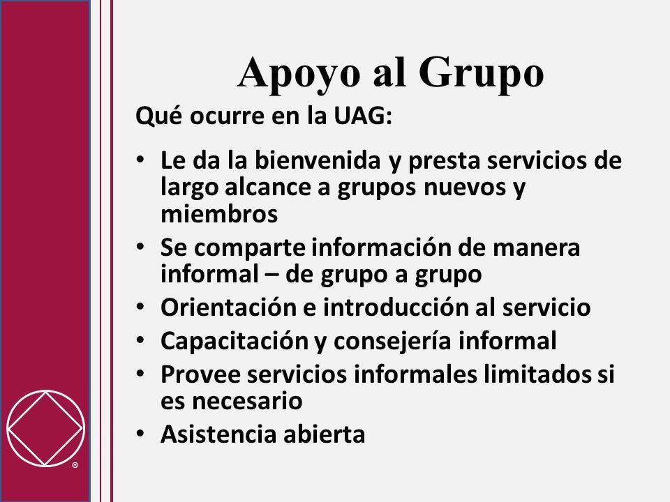 Apoyo al Grupo Qué ocurre en la UAG: Le da la bienvenida y presta servicios de largo alcance a grupos nuevos y miembros Se comparte información de man