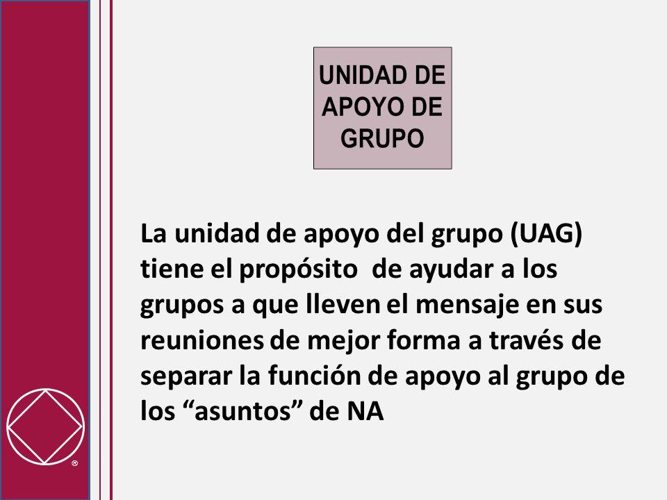 La unidad de apoyo del grupo (UAG) tiene el propósito de ayudar a los grupos a que lleven el mensaje en sus reuniones de mejor forma a través de separar la función de apoyo al grupo de los asuntos de NA