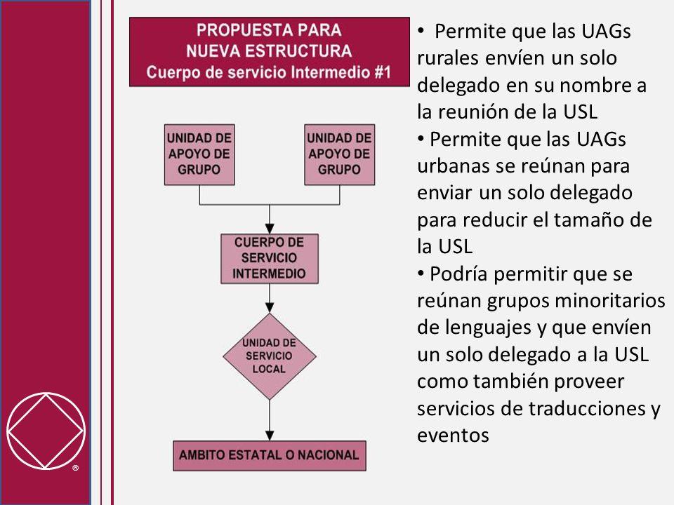 Permite que las UAGs rurales envíen un solo delegado en su nombre a la reunión de la USL Permite que las UAGs urbanas se reúnan para enviar un solo delegado para reducir el tamaño de la USL Podría permitir que se reúnan grupos minoritarios de lenguajes y que envíen un solo delegado a la USL como también proveer servicios de traducciones y eventos