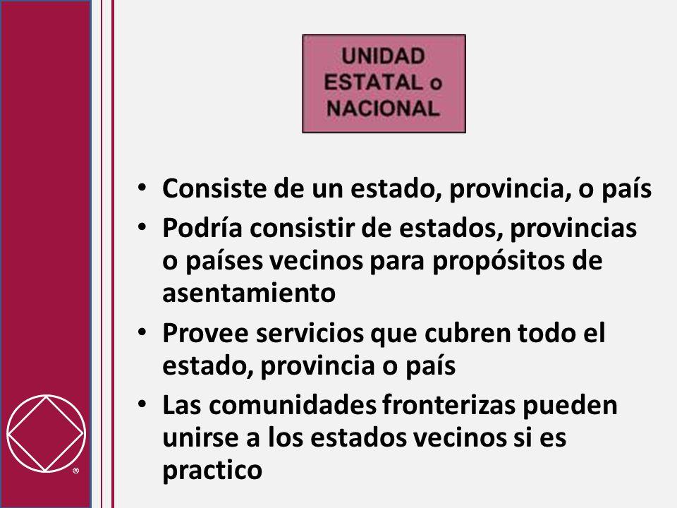 Consiste de un estado, provincia, o país Podría consistir de estados, provincias o países vecinos para propósitos de asentamiento Provee servicios que