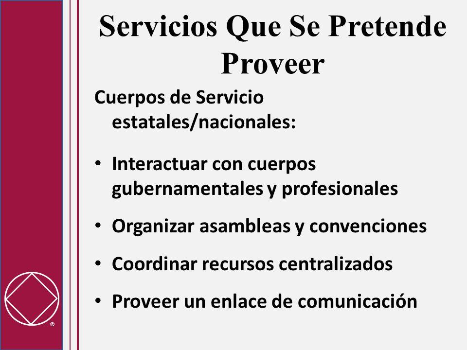 Servicios Que Se Pretende Proveer Cuerpos de Servicio estatales/nacionales: Interactuar con cuerpos gubernamentales y profesionales Organizar asambleas y convenciones Coordinar recursos centralizados Proveer un enlace de comunicación