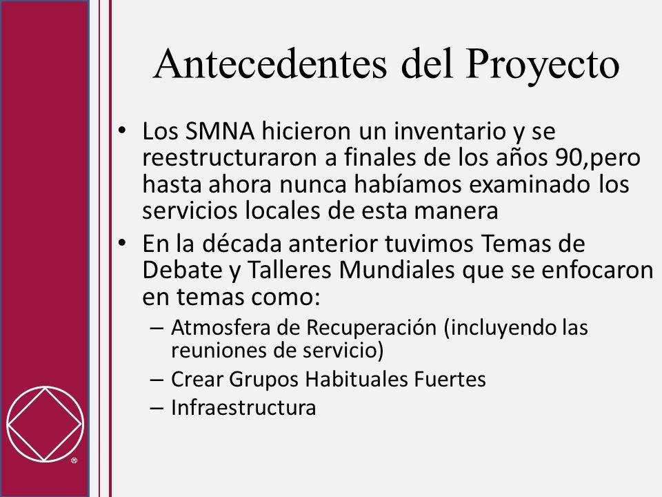 Antecedentes del Proyecto Los SMNA hicieron un inventario y se reestructuraron a finales de los años 90,pero hasta ahora nunca habíamos examinado los