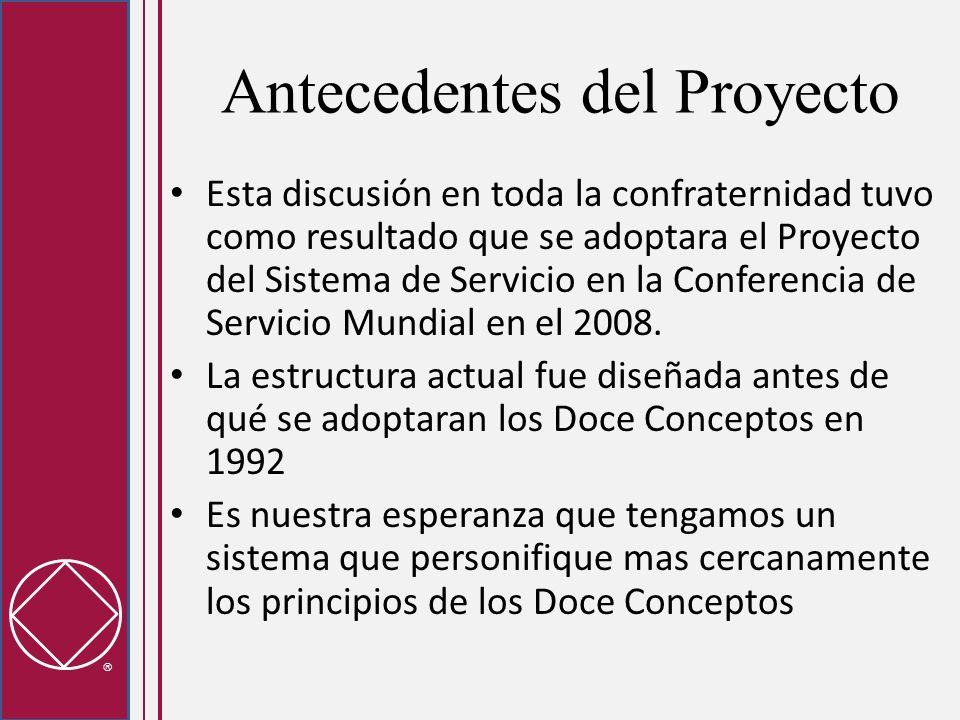 Antecedentes del Proyecto Esta discusión en toda la confraternidad tuvo como resultado que se adoptara el Proyecto del Sistema de Servicio en la Confe