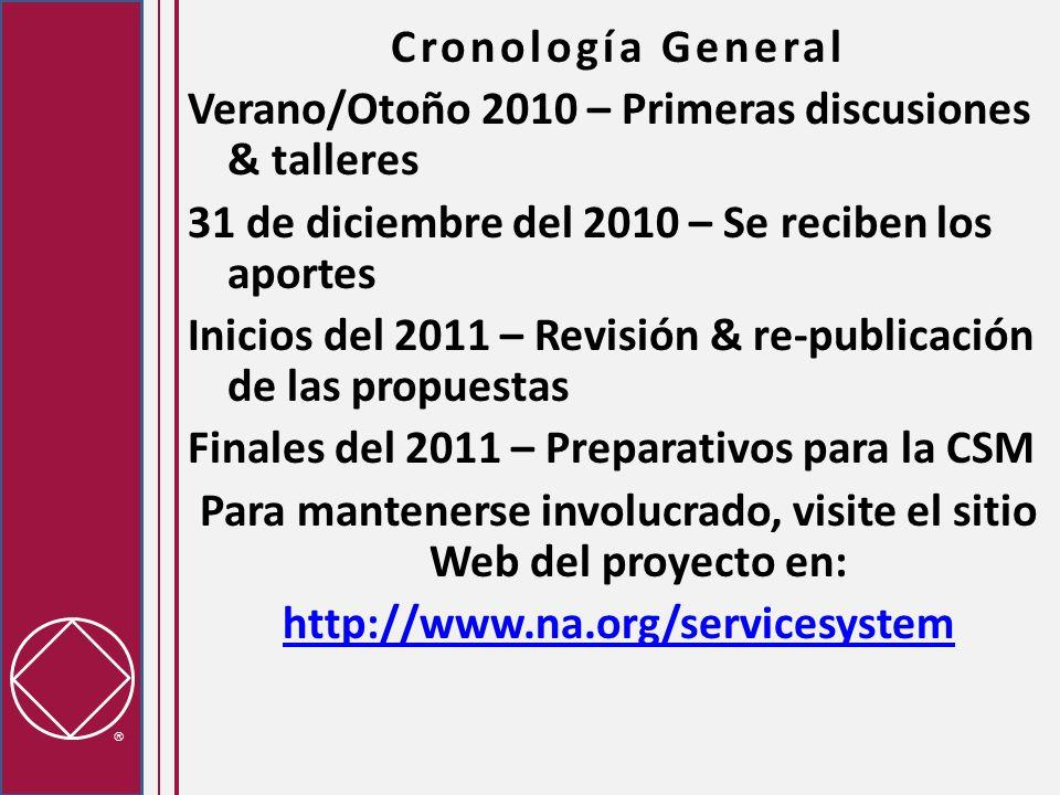Cronología General Verano/Otoño 2010 – Primeras discusiones & talleres 31 de diciembre del 2010 – Se reciben los aportes Inicios del 2011 – Revisión &