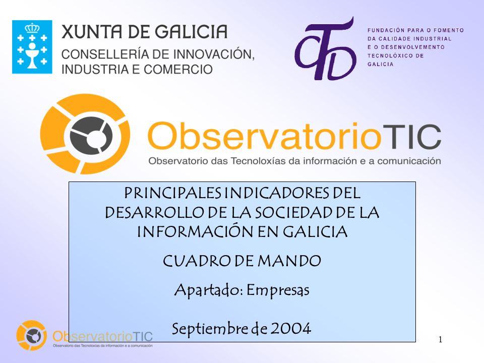 1 PRINCIPALES INDICADORES DEL DESARROLLO DE LA SOCIEDAD DE LA INFORMACIÓN EN GALICIA CUADRO DE MANDO Apartado: Empresas Septiembre de 2004