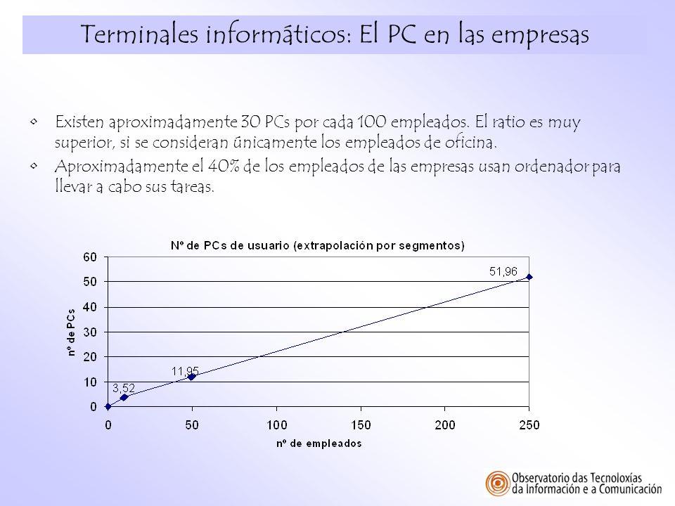 Terminales informáticos: El PC en las empresas Existen aproximadamente 30 PCs por cada 100 empleados. El ratio es muy superior, si se consideran única