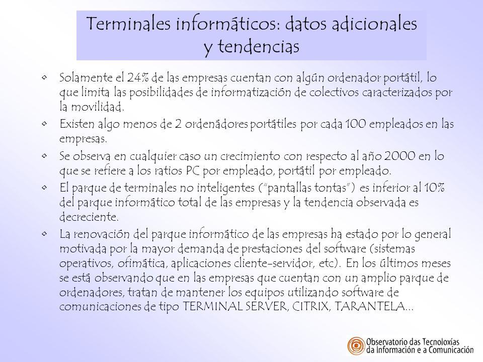 Terminales informáticos: datos adicionales y tendencias Solamente el 24% de las empresas cuentan con algún ordenador portátil, lo que limita las posib