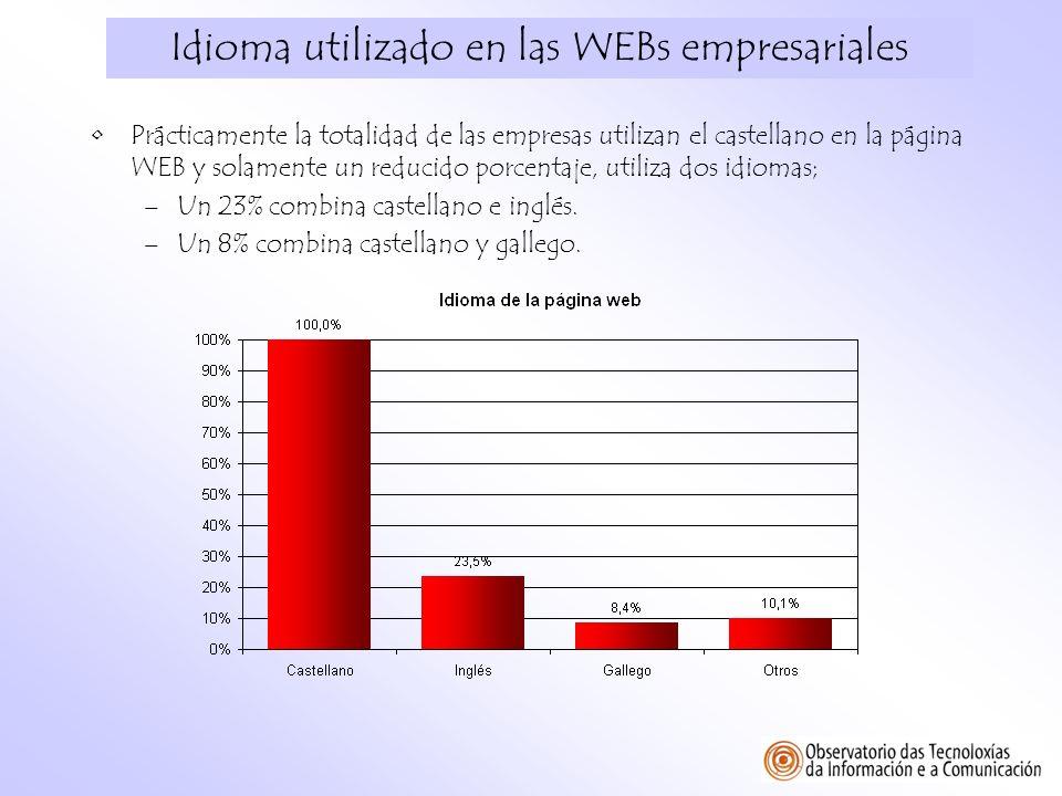 Idioma utilizado en las WEBs empresariales Prácticamente la totalidad de las empresas utilizan el castellano en la página WEB y solamente un reducido