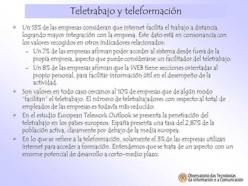 Teletrabajo y teleformación Un 13% de las empresas consideran que internet facilita el trabajo a distancia, logrando mayor integración con la empresa.