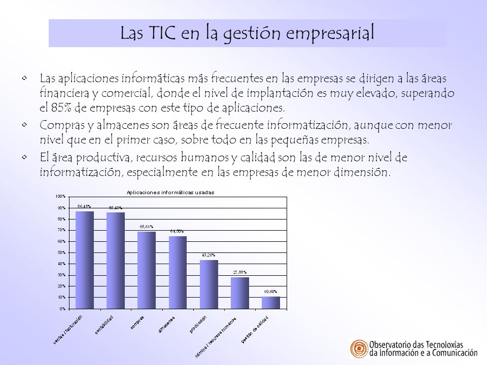 Las TIC en la gestión empresarial Las aplicaciones informáticas más frecuentes en las empresas se dirigen a las áreas financiera y comercial, donde el