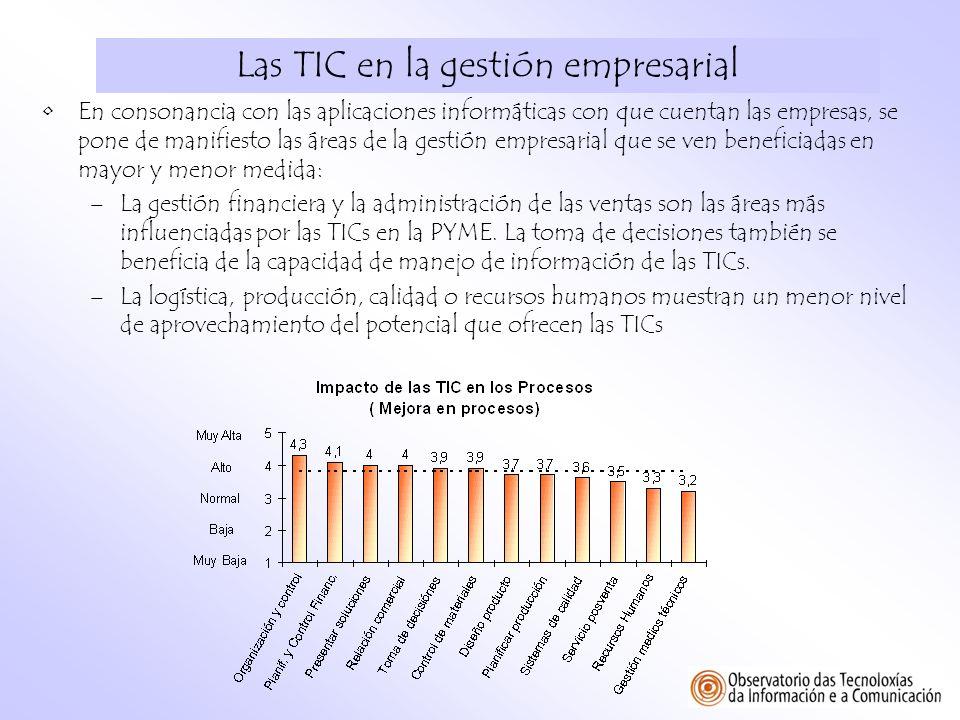 Las TIC en la gestión empresarial En consonancia con las aplicaciones informáticas con que cuentan las empresas, se pone de manifiesto las áreas de la
