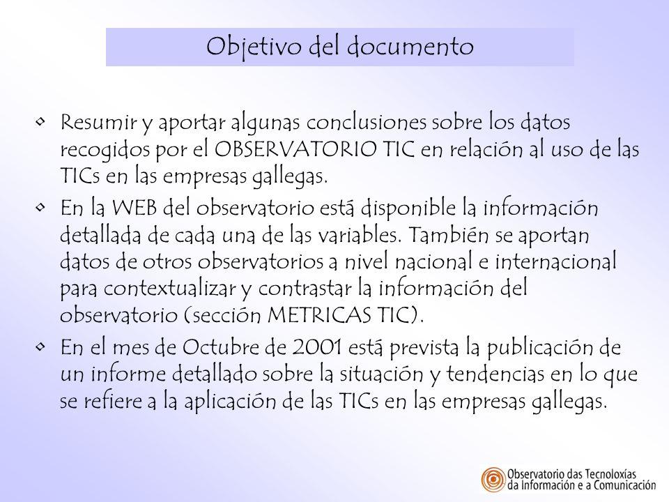Objetivo del documento Resumir y aportar algunas conclusiones sobre los datos recogidos por el OBSERVATORIO TIC en relación al uso de las TICs en las