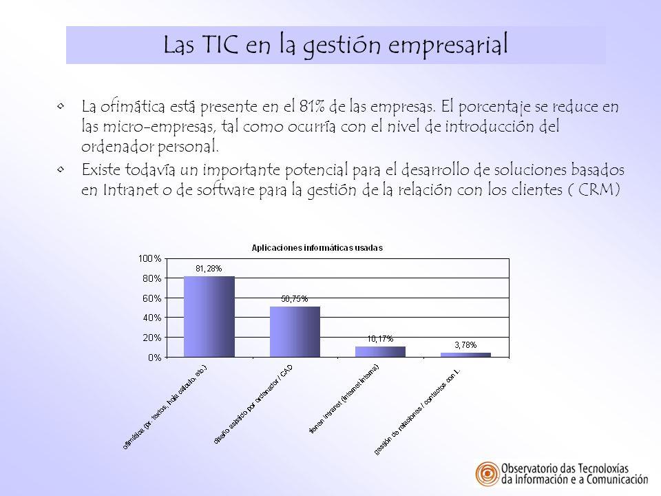 Las TIC en la gestión empresarial La ofimática está presente en el 81% de las empresas. El porcentaje se reduce en las micro-empresas, tal como ocurrí