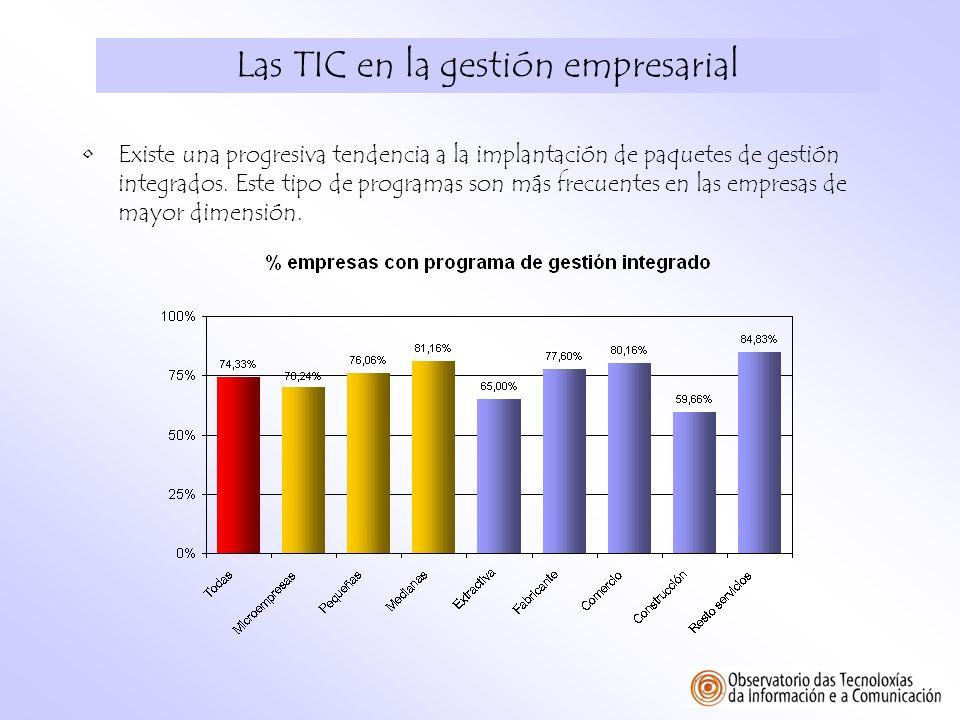 Las TIC en la gestión empresarial Existe una progresiva tendencia a la implantación de paquetes de gestión integrados. Este tipo de programas son más