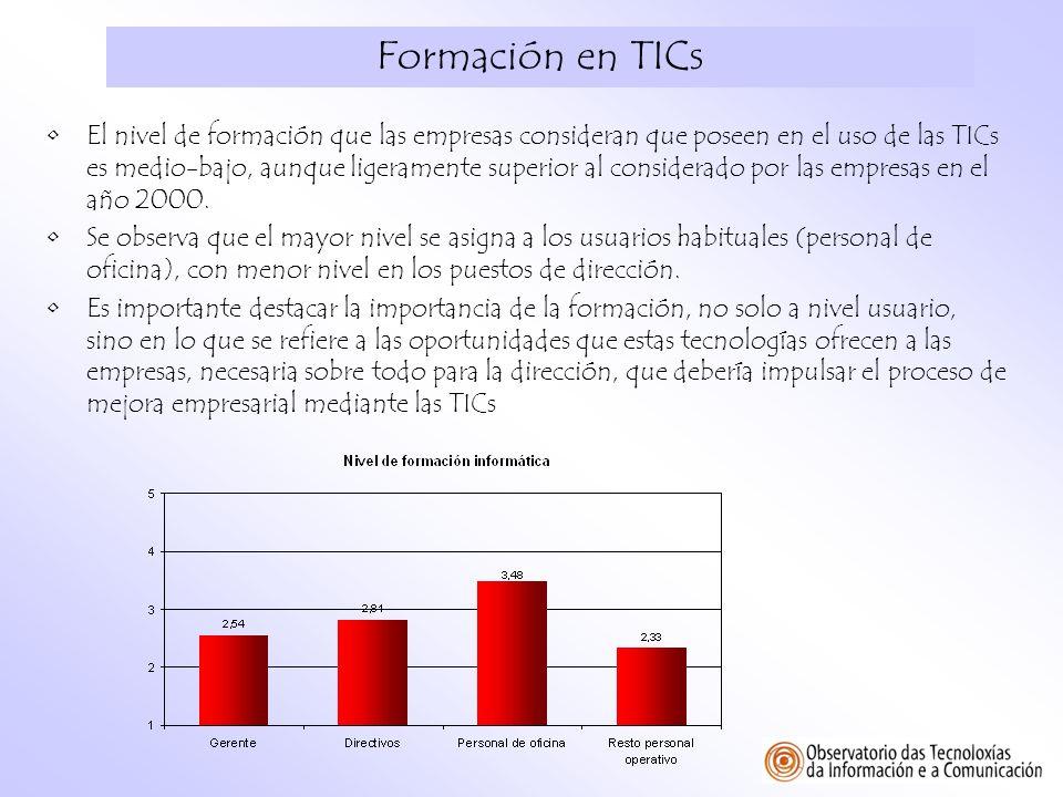 Formación en TICs El nivel de formación que las empresas consideran que poseen en el uso de las TICs es medio-bajo, aunque ligeramente superior al con