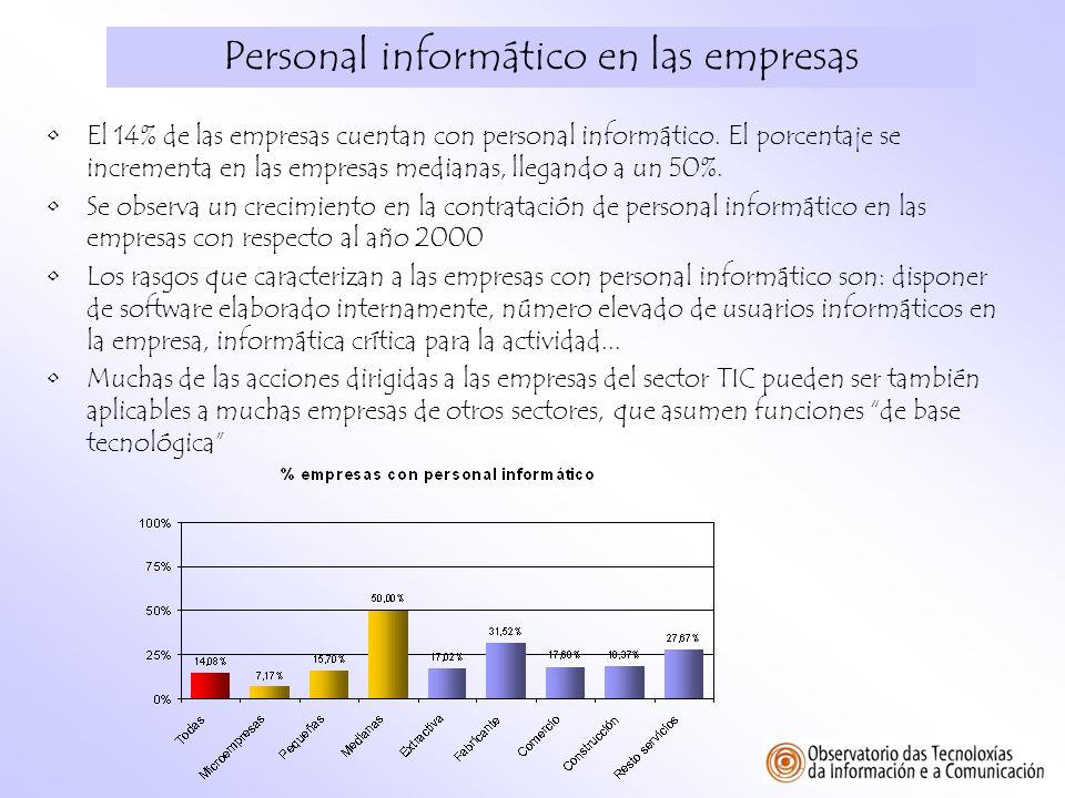 Personal informático en las empresas El 14% de las empresas cuentan con personal informático. El porcentaje se incrementa en las empresas medianas, ll