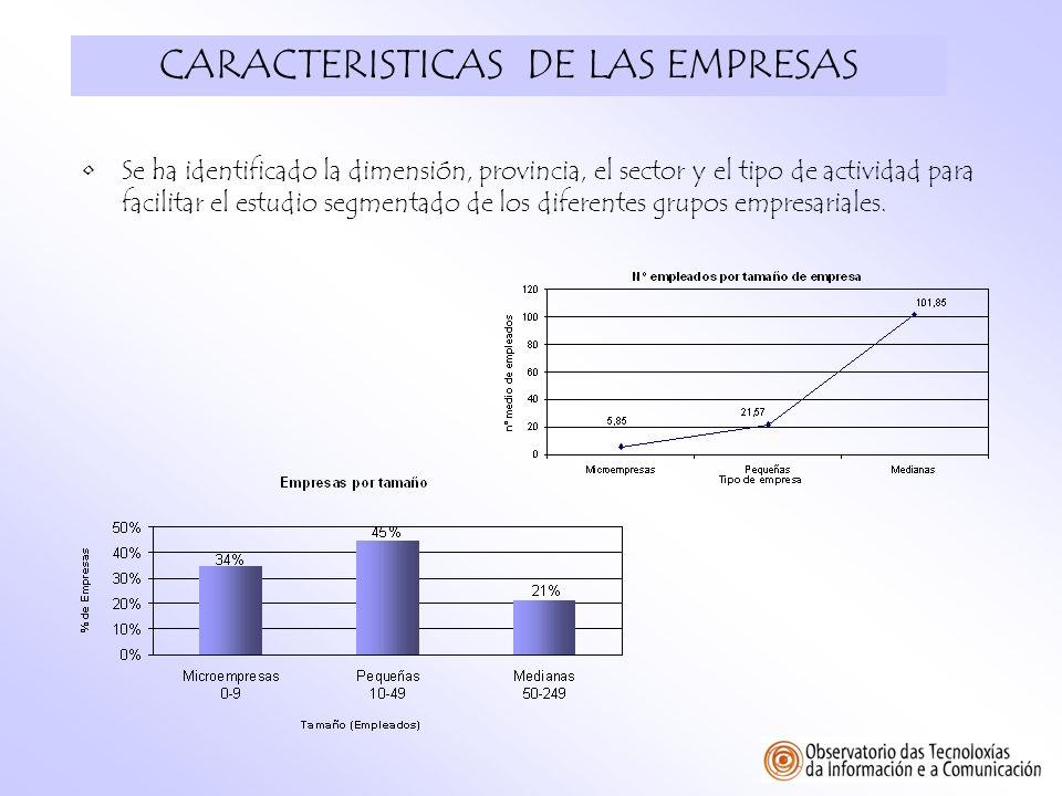 CARACTERISTICAS DE LAS EMPRESAS Se ha identificado la dimensión, provincia, el sector y el tipo de actividad para facilitar el estudio segmentado de l