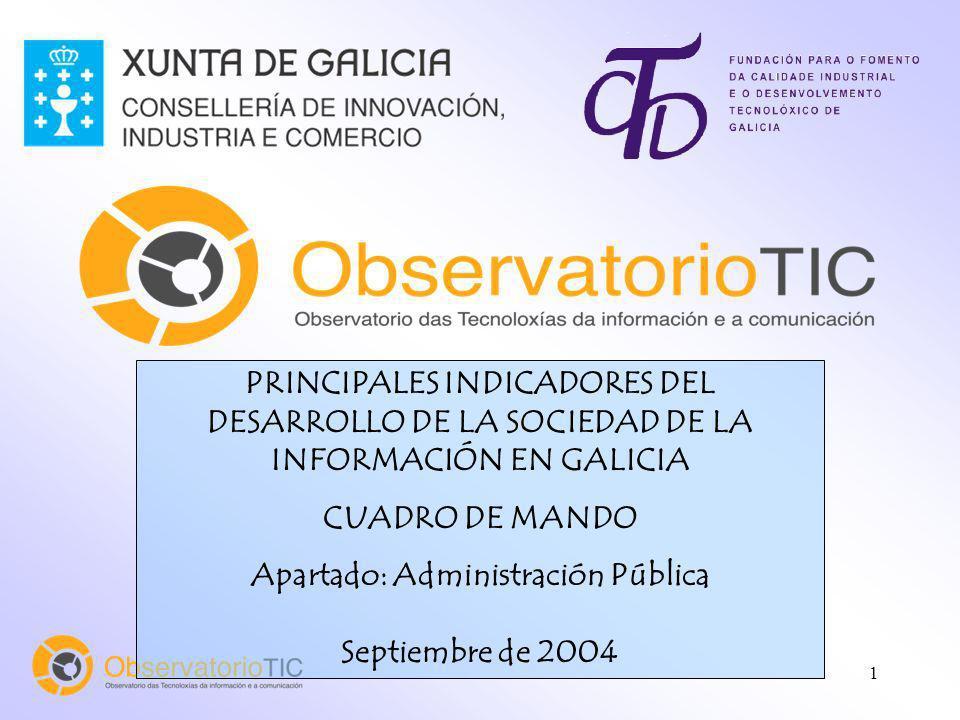 1 PRINCIPALES INDICADORES DEL DESARROLLO DE LA SOCIEDAD DE LA INFORMACIÓN EN GALICIA CUADRO DE MANDO Apartado: Administración Pública Septiembre de 2004