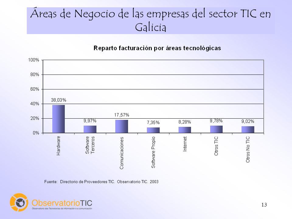 13 Áreas de Negocio de las empresas del sector TIC en Galicia Fuente: Directorio de Proveedores TIC. Observatorio TIC. 2003