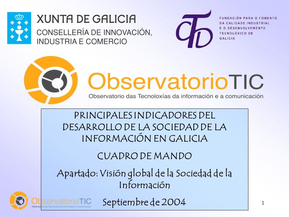 1 PRINCIPALES INDICADORES DEL DESARROLLO DE LA SOCIEDAD DE LA INFORMACIÓN EN GALICIA CUADRO DE MANDO Apartado: Visión global de la Sociedad de la Info