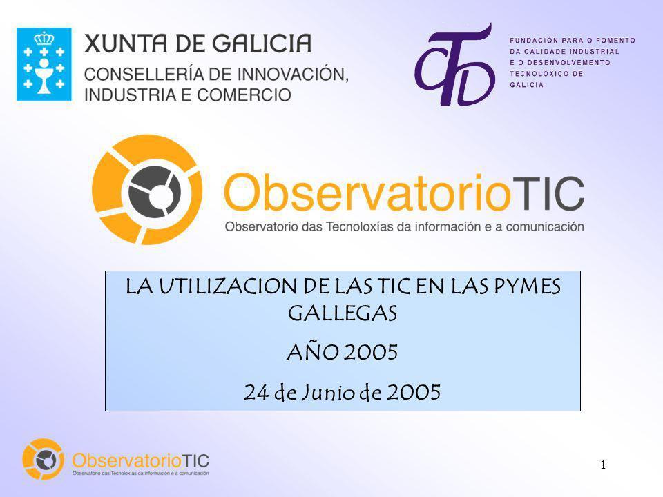 1 LA UTILIZACION DE LAS TIC EN LAS PYMES GALLEGAS AÑO 2005 24 de Junio de 2005