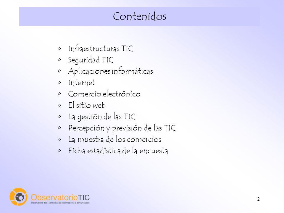 2 Contenidos Infraestructuras TIC Seguridad TIC Aplicaciones informáticas Internet Comercio electrónico El sitio web La gestión de las TIC Percepción