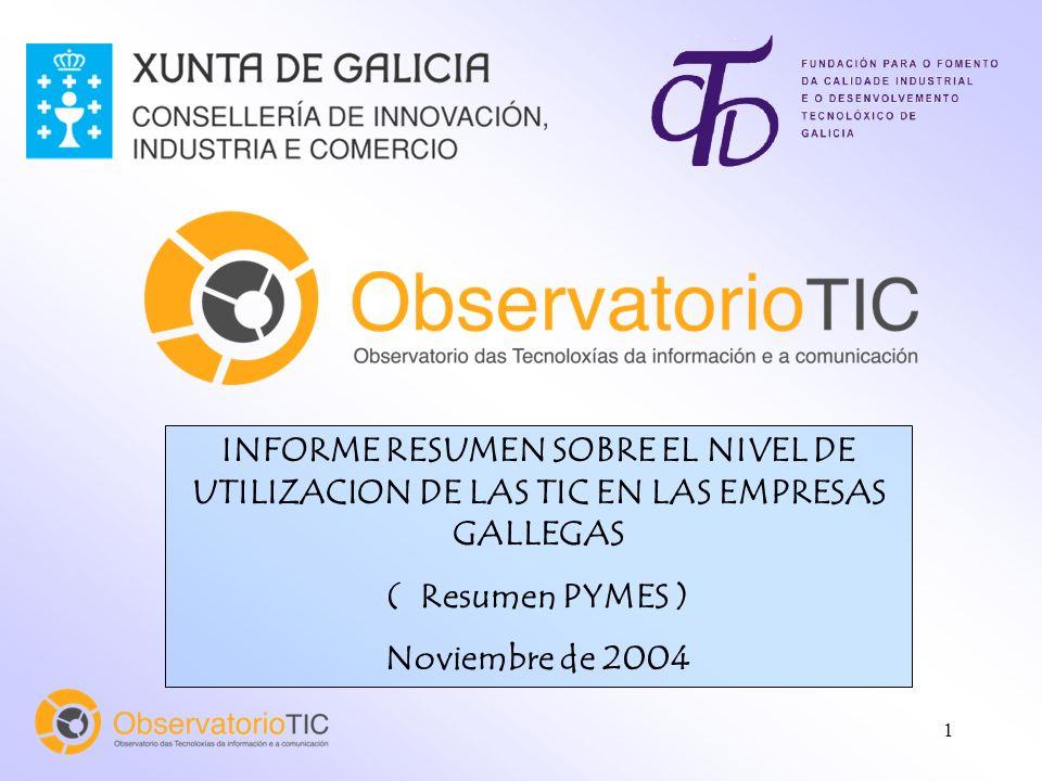 1 INFORME RESUMEN SOBRE EL NIVEL DE UTILIZACION DE LAS TIC EN LAS EMPRESAS GALLEGAS ( Resumen PYMES ) Noviembre de 2004