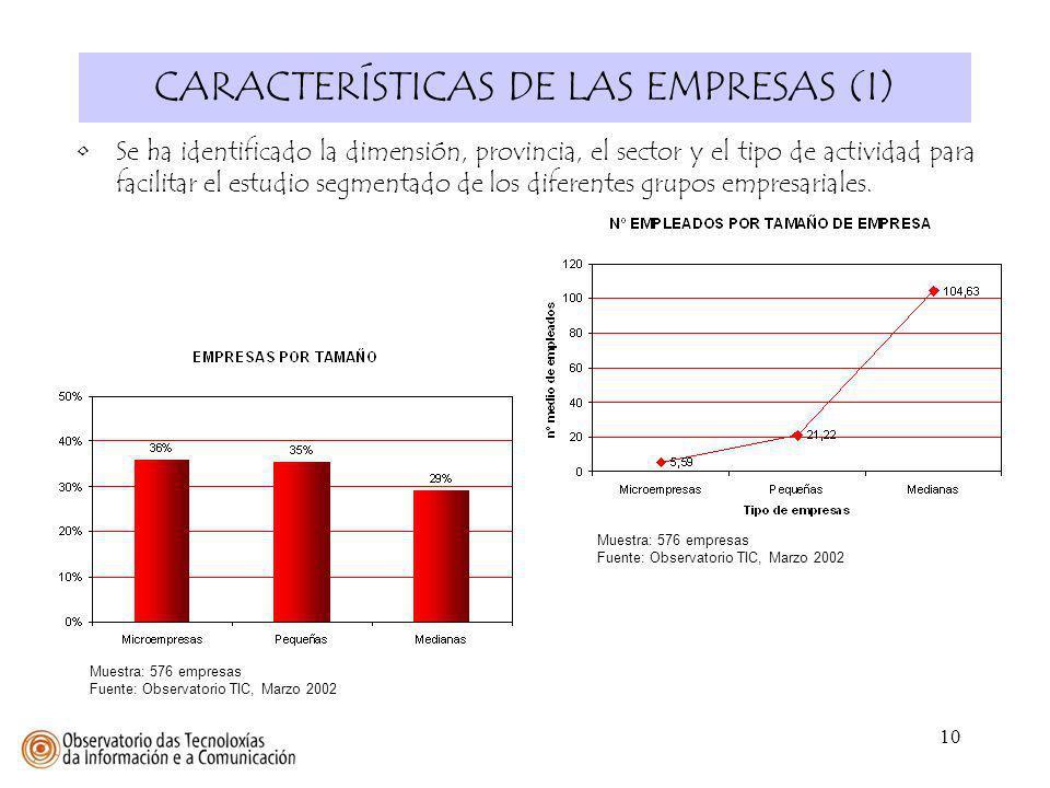 10 CARACTERÍSTICAS DE LAS EMPRESAS (I) Se ha identificado la dimensión, provincia, el sector y el tipo de actividad para facilitar el estudio segmenta