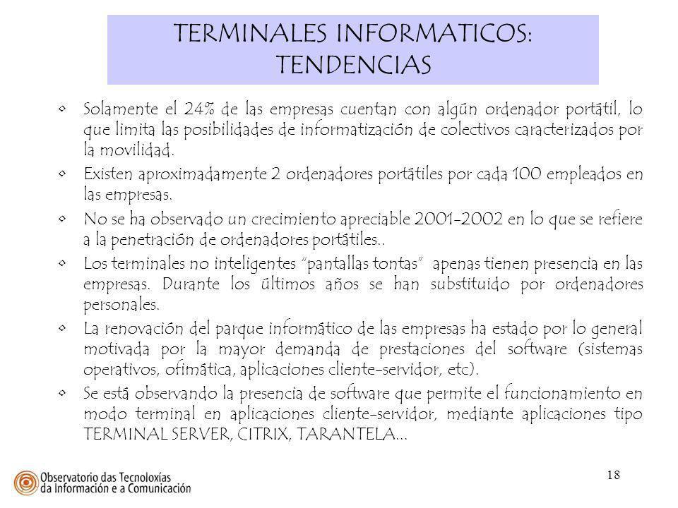 18 TERMINALES INFORMATICOS: TENDENCIAS Solamente el 24% de las empresas cuentan con algún ordenador portátil, lo que limita las posibilidades de infor