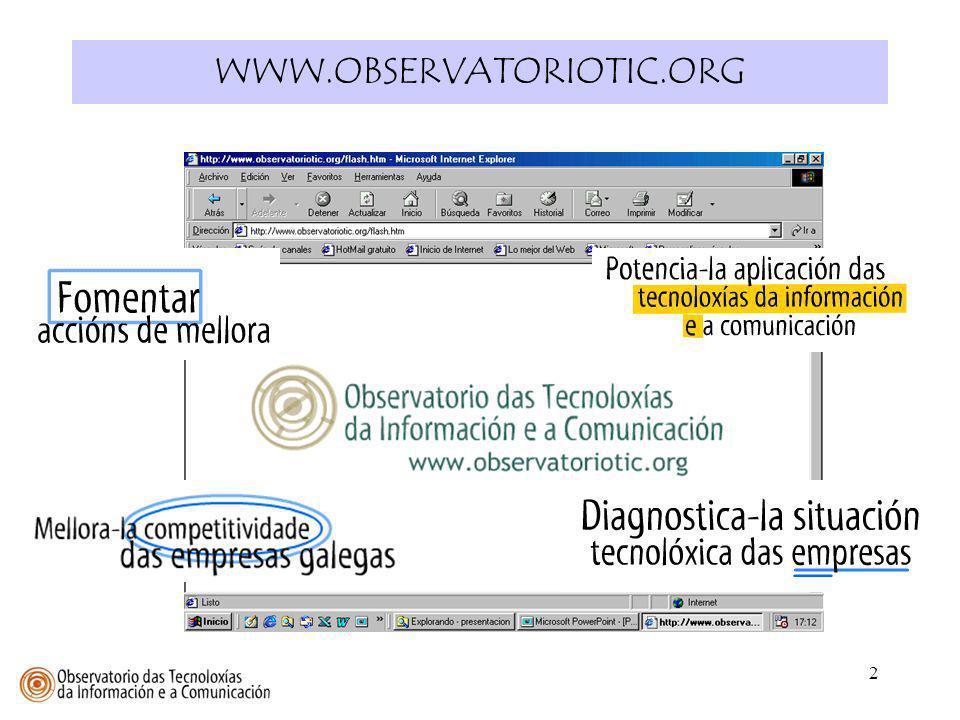 3 Resumir y aportar algunas conclusiones sobre los datos recogidos por el OBSERVATORIO TIC en relación al uso de las TICs en las empresas gallegas.