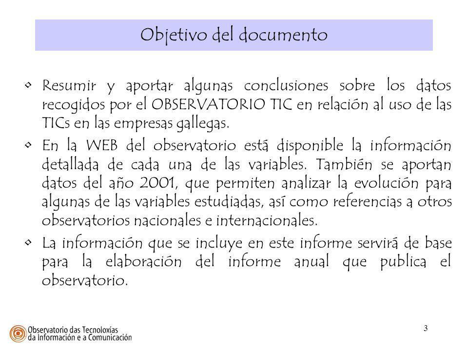 3 Resumir y aportar algunas conclusiones sobre los datos recogidos por el OBSERVATORIO TIC en relación al uso de las TICs en las empresas gallegas. En