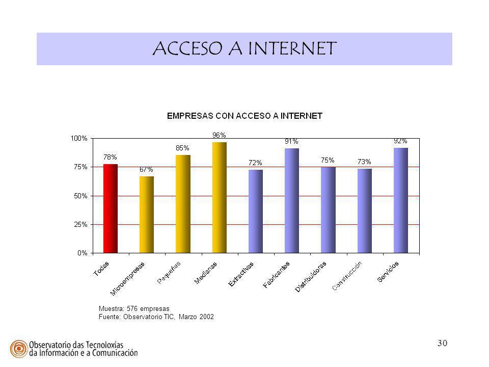 30 ACCESO A INTERNET Muestra: 576 empresas Fuente: Observatorio TIC, Marzo 2002