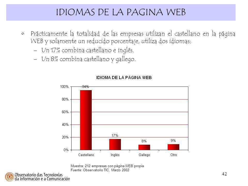 42 IDIOMAS DE LA PAGINA WEB Muestra: 212 empresas con página WEB propia Fuente: Observatorio TIC, Marzo 2002 Prácticamente la totalidad de las empresa