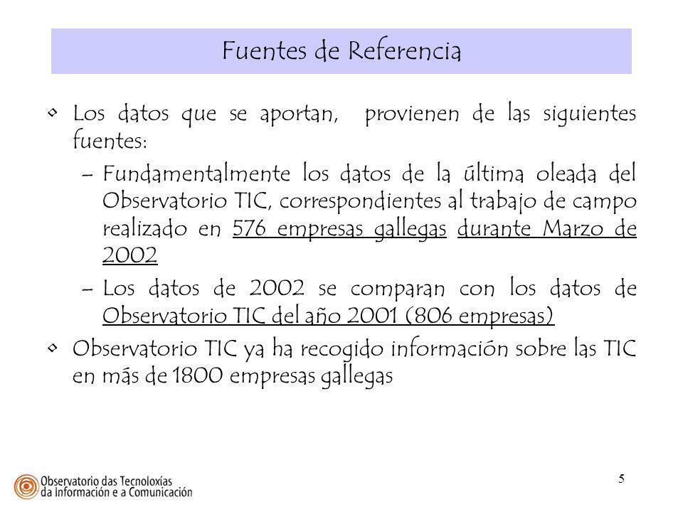 26 REDES DE DATOS EN LAS EMPRESAS Muestra: 775 / 576 empresas (2001 / 2002) Fuente: Observatorio TIC, Mayo 2001 y Marzo 2002