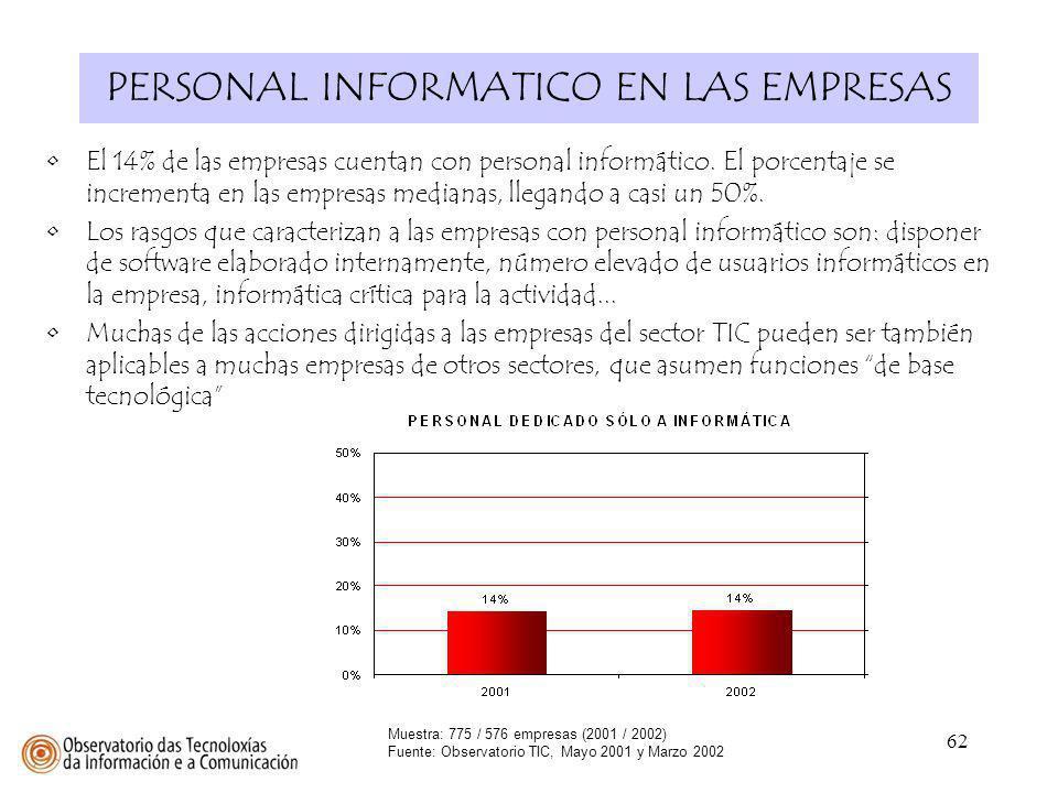 62 PERSONAL INFORMATICO EN LAS EMPRESAS Muestra: 775 / 576 empresas (2001 / 2002) Fuente: Observatorio TIC, Mayo 2001 y Marzo 2002 El 14% de las empre