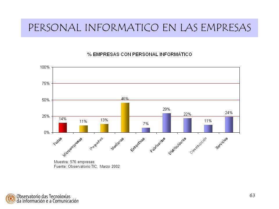 63 PERSONAL INFORMATICO EN LAS EMPRESAS Muestra: 576 empresas Fuente: Observatorio TIC, Marzo 2002