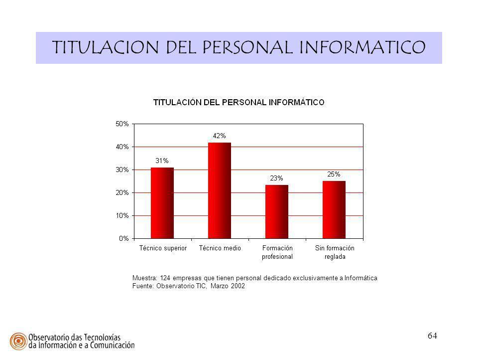 64 TITULACION DEL PERSONAL INFORMATICO Muestra: 124 empresas que tienen personal dedicado exclusivamente a Informática Fuente: Observatorio TIC, Marzo