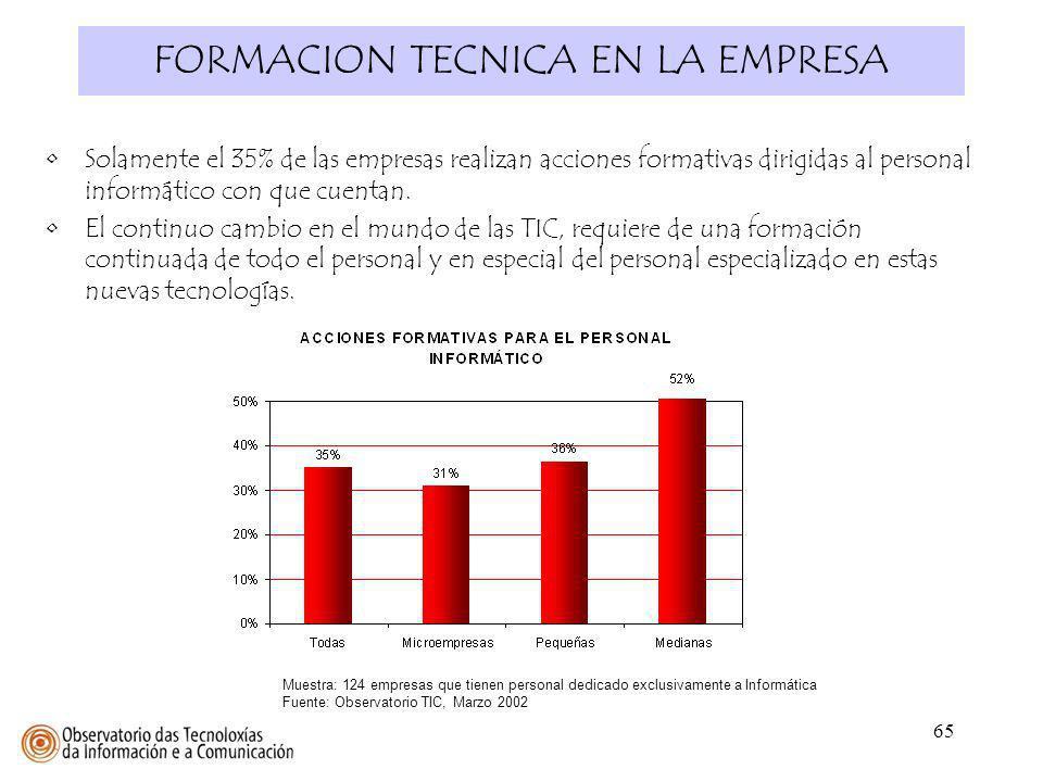 65 FORMACION TECNICA EN LA EMPRESA Muestra: 124 empresas que tienen personal dedicado exclusivamente a Informática Fuente: Observatorio TIC, Marzo 200
