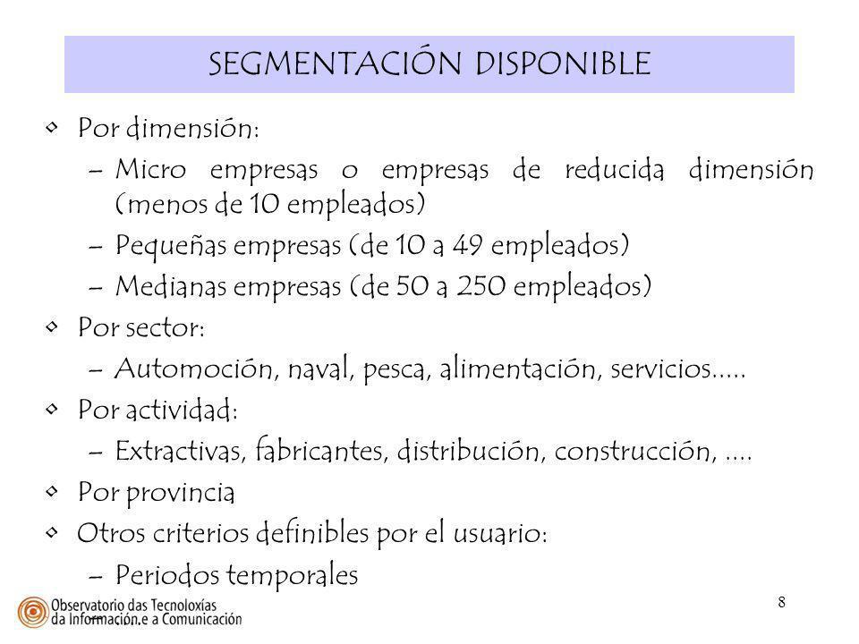 8 SEGMENTACIÓN DISPONIBLE Por dimensión: –Micro empresas o empresas de reducida dimensión (menos de 10 empleados) –Pequeñas empresas (de 10 a 49 emple