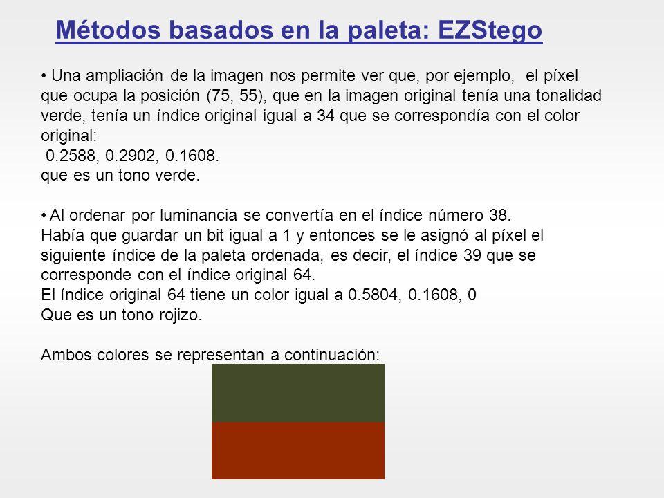 Métodos basados en la paleta: EZStego Una ampliación de la imagen nos permite ver que, por ejemplo, el píxel que ocupa la posición (75, 55), que en la