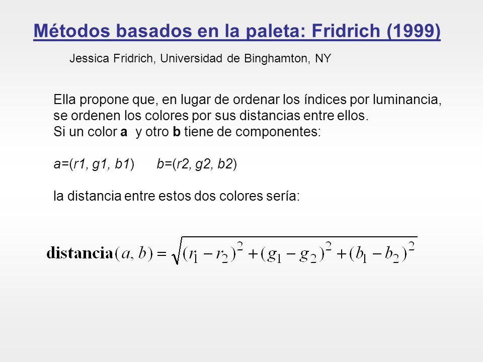 Métodos basados en la paleta: Fridrich (1999) Jessica Fridrich, Universidad de Binghamton, NY Ella propone que, en lugar de ordenar los índices por lu