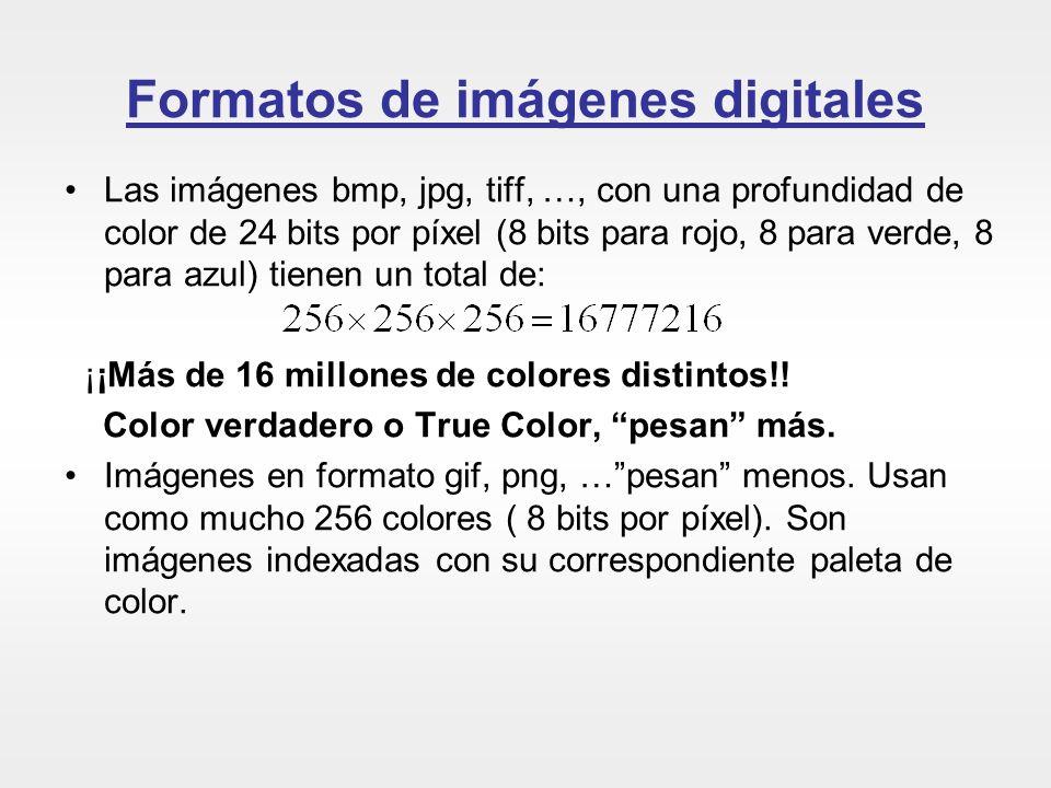 Formatos de imágenes digitales Las imágenes bmp, jpg, tiff, …, con una profundidad de color de 24 bits por píxel (8 bits para rojo, 8 para verde, 8 pa