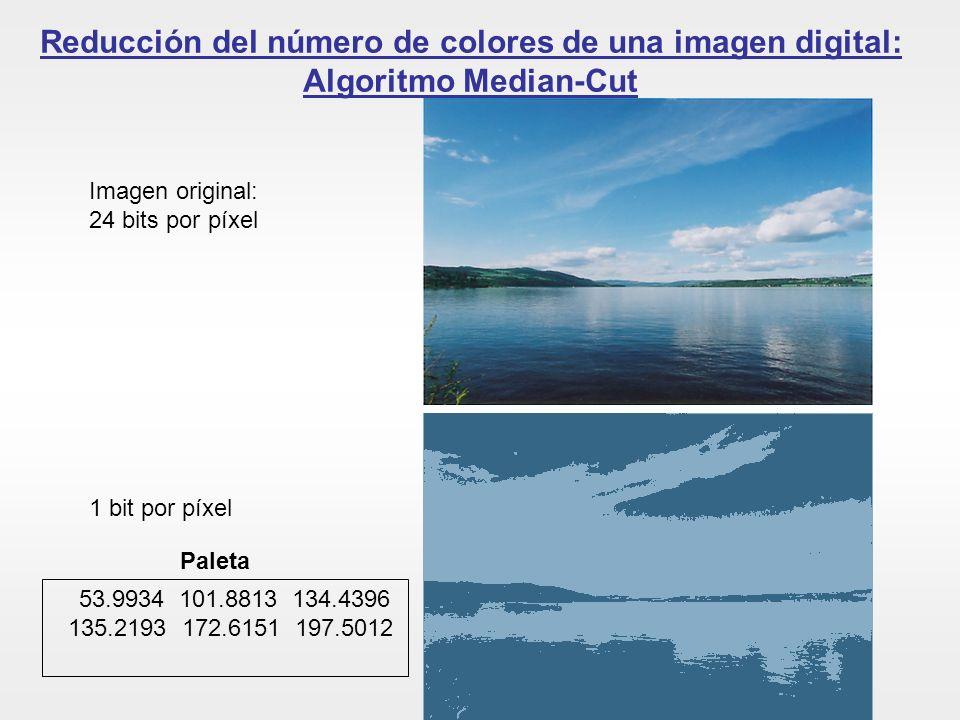 Reducción del número de colores de una imagen digital: Algoritmo Median-Cut Imagen original: 24 bits por píxel 1 bit por píxel Paleta 53.9934 101.8813
