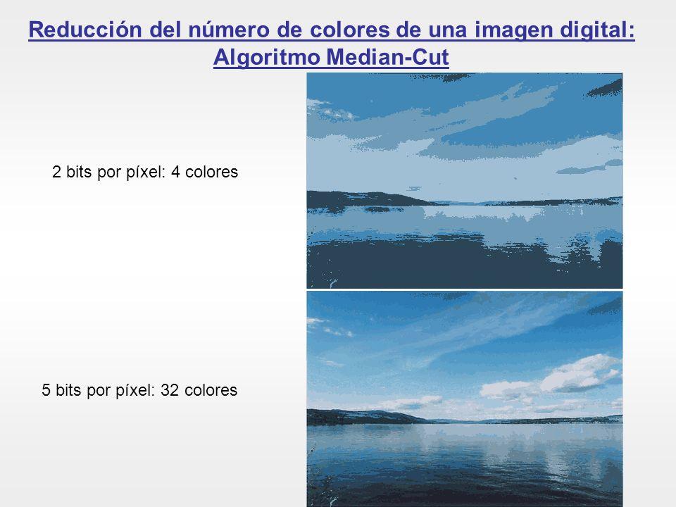 Reducción del número de colores de una imagen digital: Algoritmo Median-Cut 2 bits por píxel: 4 colores 5 bits por píxel: 32 colores