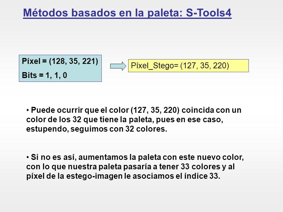 Métodos basados en la paleta: S-Tools4 Píxel = (128, 35, 221) Bits = 1, 1, 0 Píxel_Stego= (127, 35, 220) Puede ocurrir que el color (127, 35, 220) coi