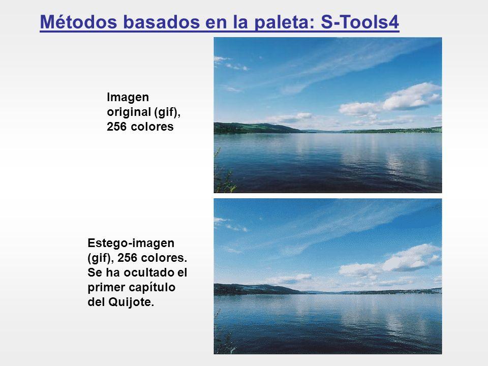 Métodos basados en la paleta: S-Tools4 Imagen original (gif), 256 colores Estego-imagen (gif), 256 colores. Se ha ocultado el primer capítulo del Quij