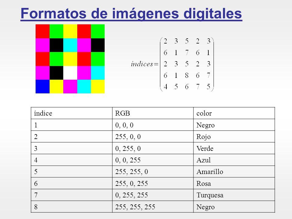 Formatos de imágenes digitales índiceRGBcolor 10, 0, 0Negro 2255, 0, 0Rojo 30, 255, 0Verde 40, 0, 255Azul 5255, 255, 0Amarillo 6255, 0, 255Rosa 70, 25