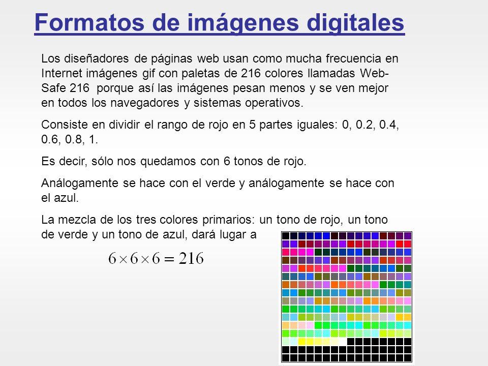 Formatos de imágenes digitales Los diseñadores de páginas web usan como mucha frecuencia en Internet imágenes gif con paletas de 216 colores llamadas