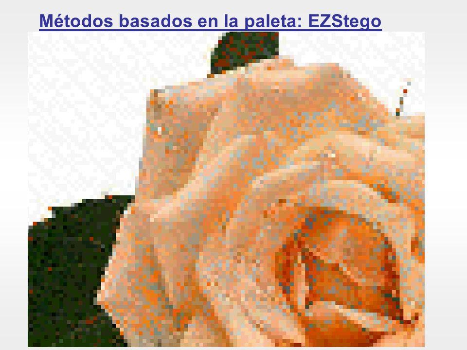 Una ampliación de la estego-imagen nos permite ver cómo píxeles que eran verdes (correspondientes a la hoja de la rosa) son coloreados como rojos en la estego-imagen.