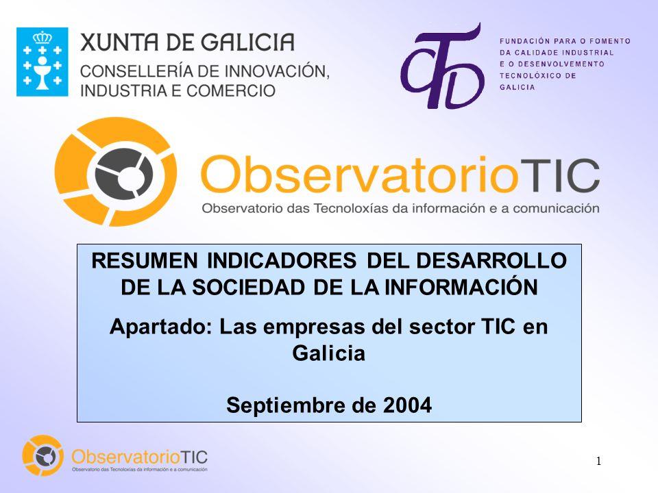 1 RESUMEN INDICADORES DEL DESARROLLO DE LA SOCIEDAD DE LA INFORMACIÓN Apartado: Las empresas del sector TIC en Galicia Septiembre de 2004